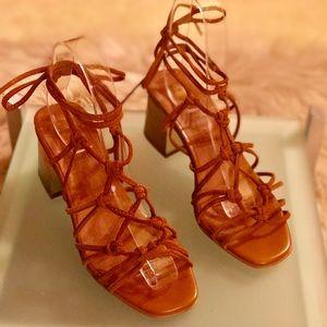 Topshop 'Napoli' Lace Up Suede Sandal